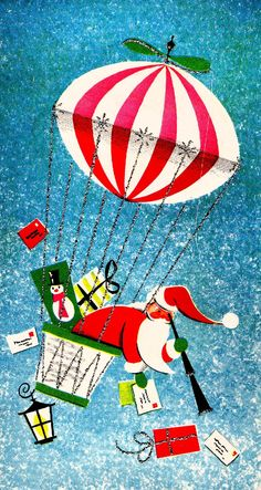 Vintage 1960's Christmas card:  Santa hanging out of hot air balloon watching children - letters