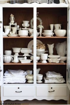 White dishes, white kitchen, white table and chairs Cottage Style Decor, Shabby Chic Cottage, Cottages And Bungalows, China Display, White Dishes, Vintage Birds, Home Improvement Projects, Table And Chairs, China Cabinet