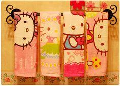 Cute Hello Kitty bow velvet towel adults face towel towel towel cartoon children more map - Taobao