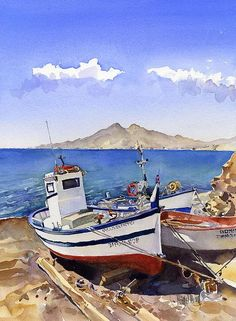 Watercolour Of Boats At La Isleta by Margaret Merry