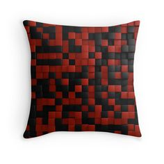 3D Illusion Red and Black Squares Pop: available as t shirt, hoodie, graphic tee, stickers,  phone cases, prints, cards, posters, home décor, pillows, totes, laptop skins, duvets, coffee mugs, travel mugs, leggings, pencil skirts, scarves, tablet cases, bags, notebooks, journals, canvases, metal prints, drawstring bags, phone wallets, contrast tanks, Chiffon tops, graphic t shirt dress, a-line dress, wall tapestry