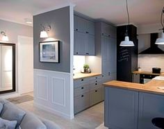 Riviera of blue - Średnia otwarta kuchnia w kształcie litery g w aneksie, styl skandynawski - zdjęcie od SHOKO.design