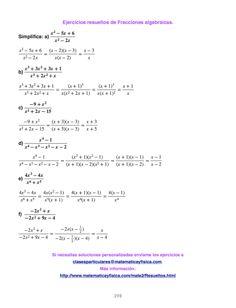 Ejercicios resueltos de fracciones algebraicas