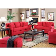 Red furniture in a black and white accented room is my fave!!