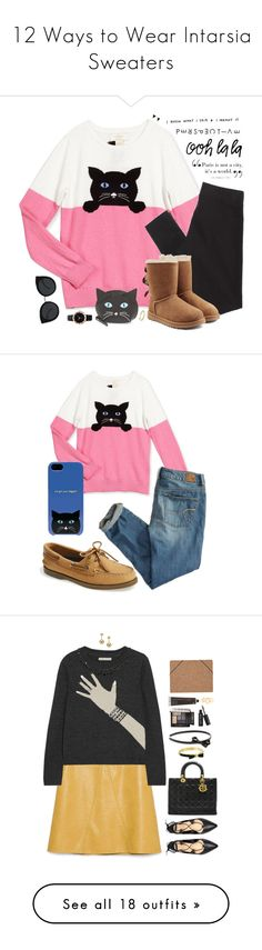 """12 Ways to Wear Intarsia Sweaters"" by polyvore-editorial ❤ liked on Polyvore featuring waystowear, intarsiasweater, Kate Spade, Assouline Publishing, American Eagle Outfitters, UGG Australia, Michael Kors, Quay, SummerPicks2015 and Sperry Top-Sider"
