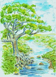 Watercolor fantasy tree, from my blog http://artistadron.blogspot.com/