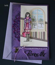 Hélène Chiasson (Suila) création- juillet 2016 Tricia girl stamp , by Angie Blom designer/ Unity stamp company