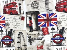 Dekostoff London Impressionen, TP6720001,  bei stoffe-hemmers.de, Sehr dekorativer Polyester-Stoff mit Impressionen der Metropole London,