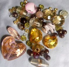 Pink beads Glass beads Beads Bead lots Mixed by RosariesbyEsther