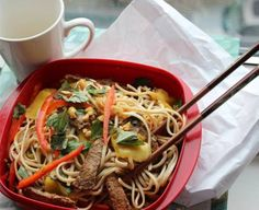 Sweet mango and Thai basil balance out a spicy dressing with lime and fish sauce in this bowl of noodle goodness. Fresh and bright, this flavorful dish won't leave you with post-greasy takeout blues.