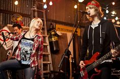 Tonight Alive on the set of the Starlight music video.