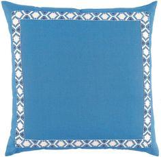 Royal Linen with Regatta on White Camden Tape Pillow