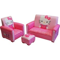 New HELLO KITTY Sofa Chair Ottoman Couch Kid Toddler Girl Bed Room Toy Furniture