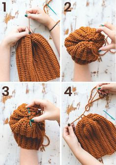 Easy Crochet Brooklyn Ridge Hat - free pattern - Sewrella Easy crochet hat made from a rectangle! This beginner friendly free pattern is quick (using bulky weight yarn) and utilizes simple stitches. Easy Crochet Hat Patterns, Crochet Beanie Pattern, Easy Crochet Projects, Knitting Patterns, Crochet Stitches, Crochet Ideas, Crochet Simple, Free Crochet, Crochet Geek