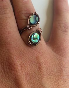 Adjustable Wire Wrapped Abalone Ring on Etsy, $12.00