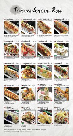 Fusion Sushi Japanese Restaurants - Manhattan Beach and Long Beach in California Sushi Menu, Sushi Party, Japanese Dishes, Japanese Food, Sushi Roll Recipes, Onigirazu, Sushi Love, International Recipes, Sushi Rolls