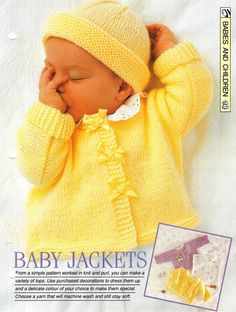 """Knitting pattern - Baby's """"Baby Jackets"""" cardigan and hat - Instant download"""