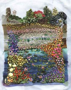 This particular silk ribbon embroidery garden is very bright and vibrant. It has been inspired by the artist Monet and the paintings of his own garden, it has all been hand sewn.