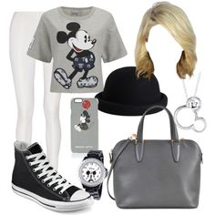 Mickey by bluemob on Polyvore featuring polyvore fashion style Paul & Joe Sister Donna Karan Converse Valextra Disney Markus Lupfer Pieces