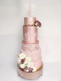Champagne Pink Wedding Cake