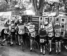 Cyclists stop by the road to get fresh supplies during a sixties edition of the Tour. Competitors usually consume between four and twenty bottles of water per stage.