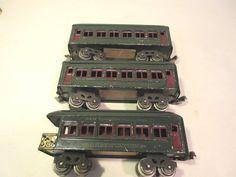 LIONEL 610, 610, 612 PASS CARS DK GREEN PREWAR O-GAUGE #X8901
