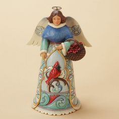 Peace Is Found In Winter ... Winter Angel With Cardinal Figurine