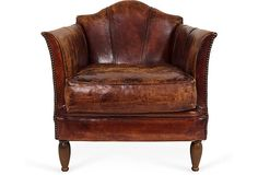 "Jeffrey Alan Marks - 1980'S Art Deco-style Brown Leather Club Chair, 28.75''L x 27''W x 29''H; seat, 22""H  2399 - orig. 2995"