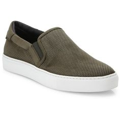 To Boot New York Stewart Suede & Leather Perforated Slip-On Sneakers (685 BRL) ❤ liked on Polyvore featuring men's fashion, men's shoes, men's sneakers, apparel & accessories, mens suede shoes, to boot new york mens shoes, mens slip on sneakers, mens slip on shoes and mens perforated shoes