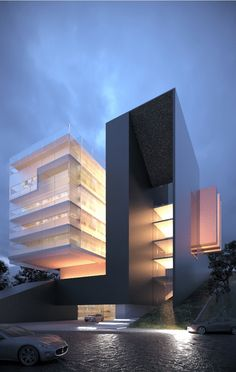 architecture_hunter Luxo Tower, in France, by Creato Arquitectos. Modern Architecture House, Facade Architecture, Modern Buildings, Beautiful Architecture, Facade Design, Exterior Design, House Design, Modern Exterior, Building Design