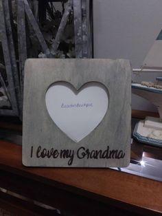 I Love My Grandma Wood Heart Picture Photo Frame / I Love My Grandpa