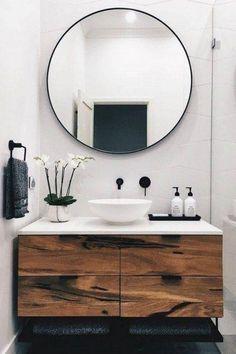 Modern Scandinavian Bathroom Interior In White - banheiro - Bathroom Decor Wood Bathroom, Bathroom Colors, Bathroom Flooring, Bathroom Storage, Bathroom Ideas, Bathroom Vanities, Bathroom Small, Bathroom Black, Mirror Bathroom