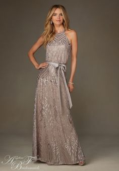 Bridesmaids Dress 20475 Patterned Sequin on Mesh