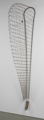 Greed's Trophy, Martin Puryear, 1984. Steel rod and wire, wood, rattan, and leather