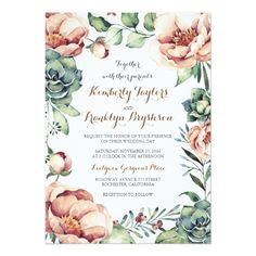 Succulent Wedding Invitations vintage flowers ivory watercolor wreath fall card