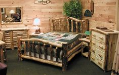 All of us love to live closer to our original instincts and in natural environment. Even in modern tech-days, you can opt for this awesome rustic wooden bedroom furniture. The bed is made out of wood logs, the dresser has also been nailed keeping in view the log structure. The beautiful chest of drawers and side tables, everything is making the interior purely rustic and dreamy.