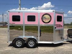 Cool photo of a pink horse trailer