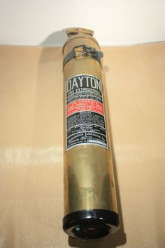 Vintage Dayton Fire Extinguisher Fyr Fyter With Bracket Brass