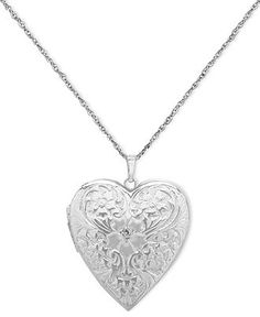 Sterling Silver Necklace, Engraved Heart Locket - BLACK FRIDAY SPECIALS - Jewelry & Watches - Macy's