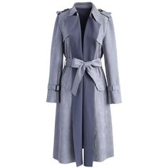 Chicwish Have Your Eye on It Faux Suede Coat in Grey ($76) ❤ liked on Polyvore featuring outerwear, coats, grey, grey coat, belted coat, gray coat, faux suede coat and leather-sleeve coats