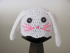 Baby Easter Bunny Hat 6 to 12months, Infant Bunny Ears, Girl, Bunny Beanie, Toddler, White Photo Prop, Easter Gift, Costume Easter Gift by LoveKnots4UDesigns on Etsy