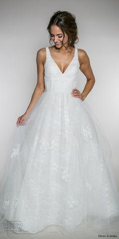 heidi elnora fall 2017 bridal sleeveless strap v neck light embellished romantic a  line wedding dress low v back sweep train (emma rose) mv