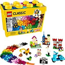 Engage your kids in pretend play by letting them build their own play toys, such as creating a toy house or toy scooter. The large build and play LEGO Creative Brick toyplayset is compatible with all LEGO construction sets for neverending creative play. Creative Toys For Kids, Creative Box, Building For Kids, Building Toys, Brick Building, Lego Sets, Mario Bros, Van Lego, Lego Boxes
