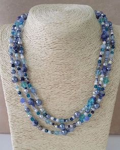 Blue Beaded Multi-strand necklace