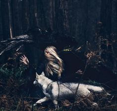"""This is one of my favorite pictures on this series. I love the motion conveyed, how she is in sync with her inner wolf. They're running side by side in the woods, the wolf just slightly ahead, the terrain familiar to it. The wolf's head. Story Inspiration, Character Inspiration, Nature Sauvage, The Ancient Magus Bride, Running Women, Woman Running, Fairy Tales, Photos, Pictures"