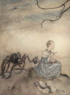 Arthur Rackham Mother Goose Little Miss Muffet oil painting for sale; Select your favorite Arthur Rackham Mother Goose Little Miss Muffet painting on canvas or frame at discount price. Edgar Allan Poe, Kensington Gardens, Old Nursery Rhymes, Arthur Rackham, Fairytale Art, Mother Goose, Favim, Conte, Little Miss