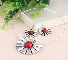 Fashion Special Butterfly Shape Earring Hook Necklace with Imitate Turquoise Women Ladies Jewelry Set