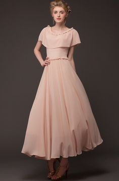 Pink Cape Vintage Pleated Maxi Dress - Sheinside.com