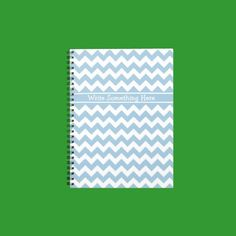 Custom Spiral Notebook, Blue and White Chevrons