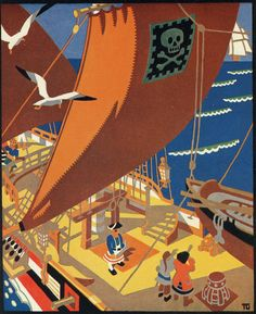 Yo-Ho For Devon  1920s . Poster designed by Tom Gentleman for a Great Western Railway competition .